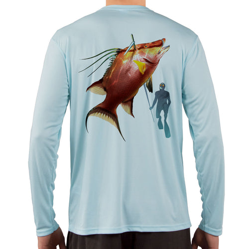 Diver with Hogfish Snapper Vapor Dri Fit - Arctic Blue