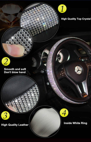 CEZ International black Swarovski Crystals Car Steering Wheel Cover