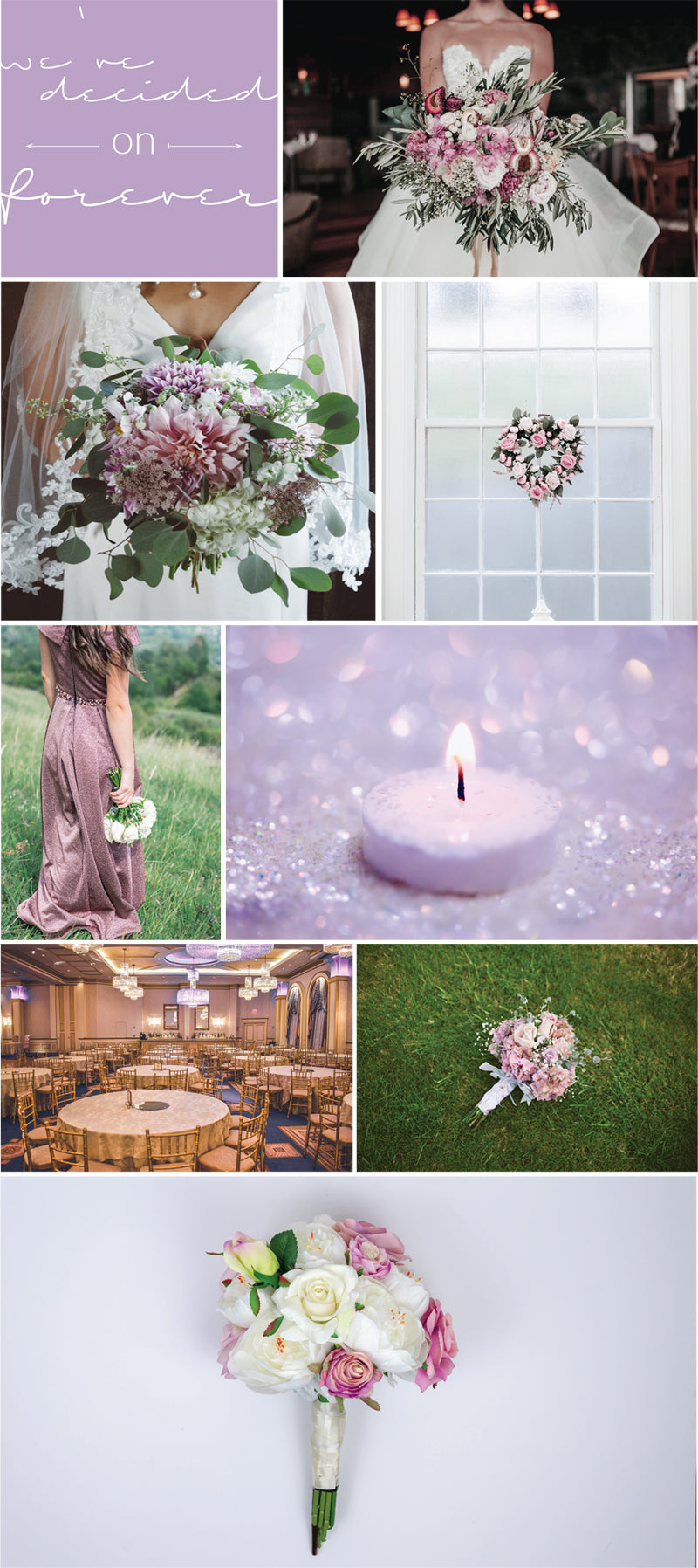 Inspiration board for blush and lavender wedding colour palette