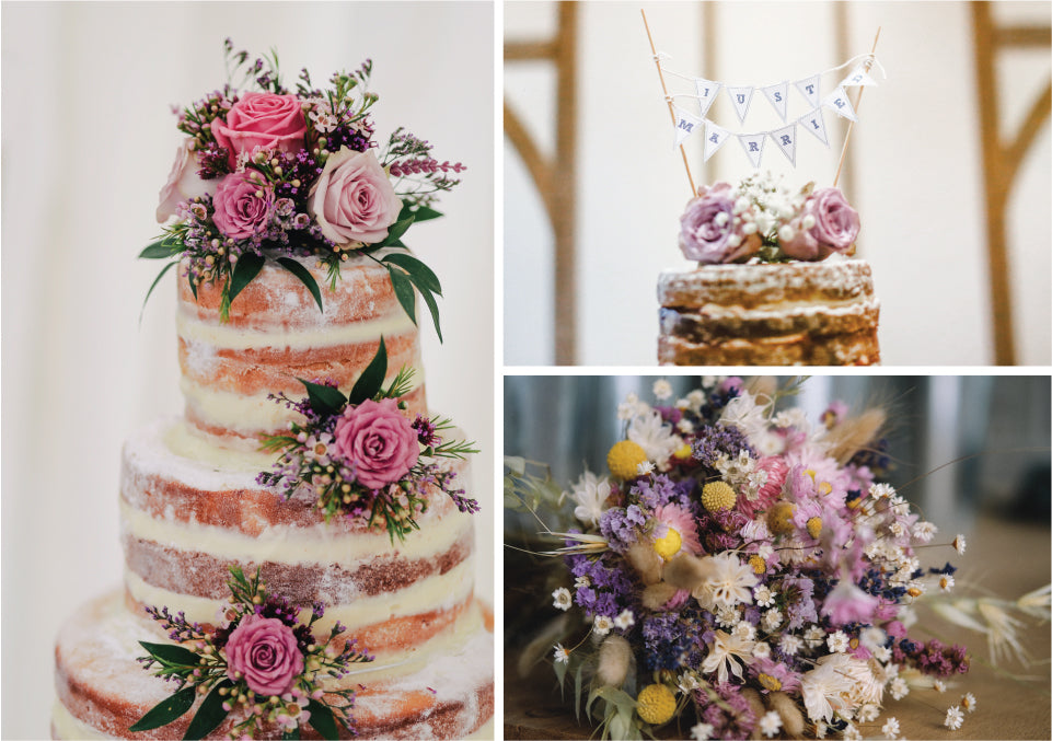 Rustic inspiration board for blush and lavender wedding colour palette