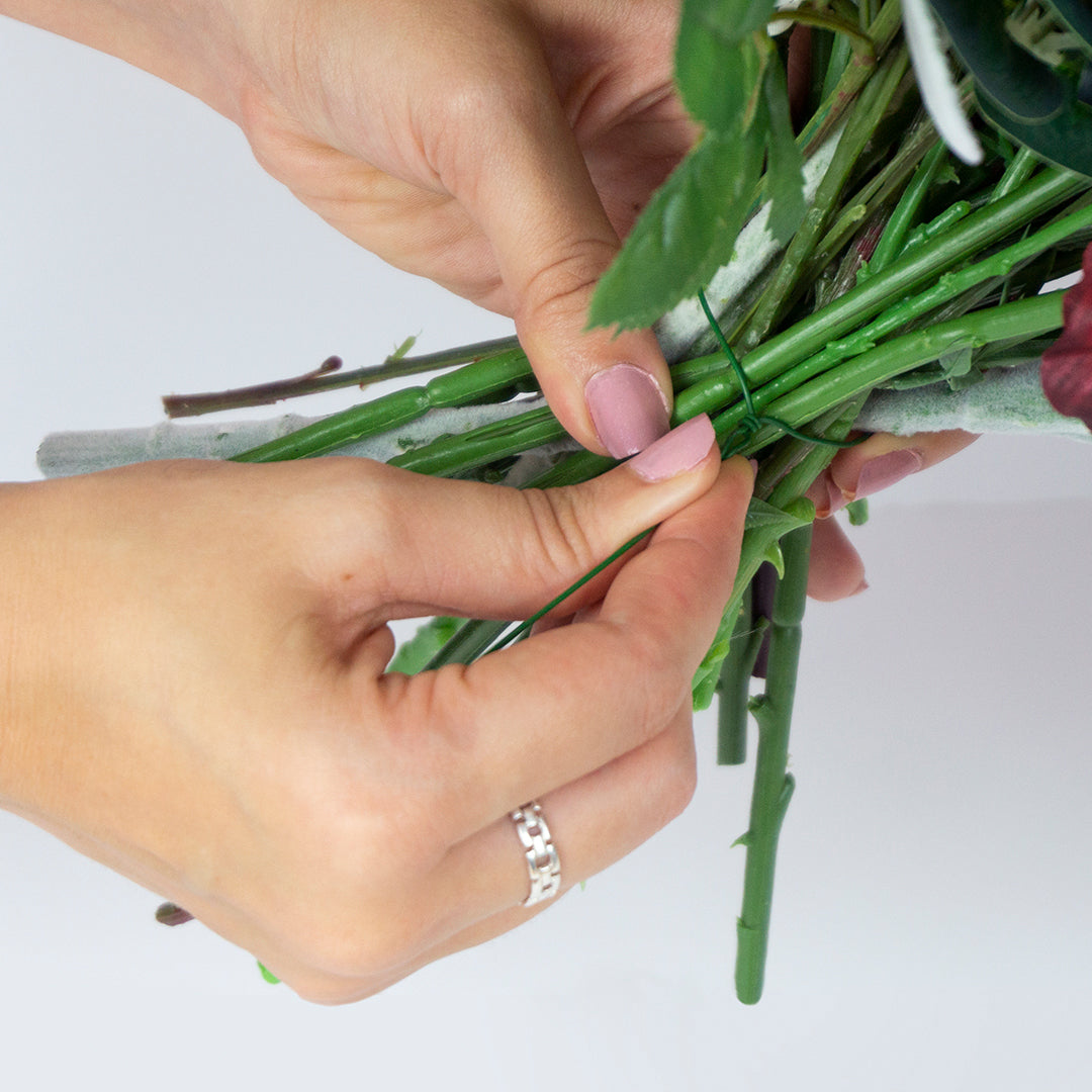 Use floral wire to secure the bouquet