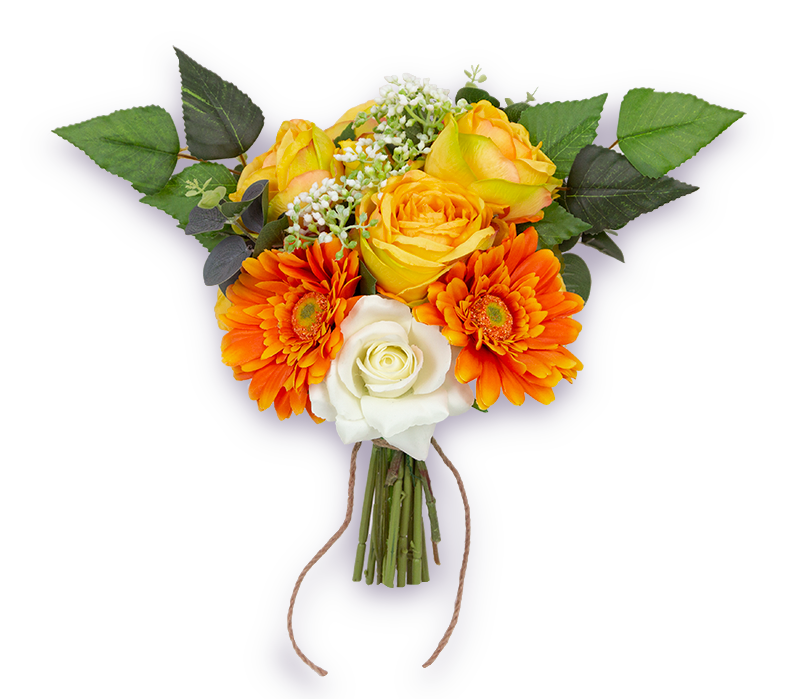 Orange, golden yellow and white boho small posy wedding bouquet with light green foliage and a rustic wrapping