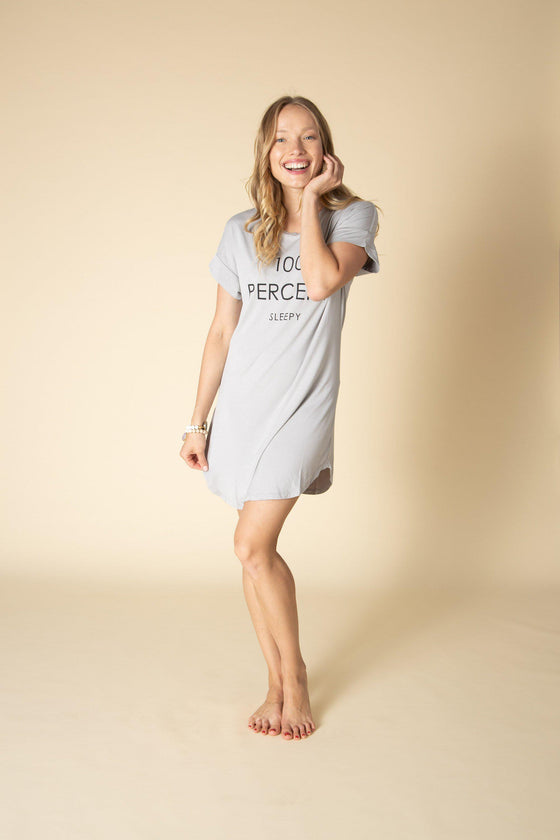 100 Percent Sleepy Pajama Shirt Dress-Nine Zen