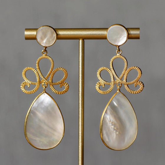 18k Gold Plate 925 Sterling Natural Pearl Shell Stone Earrings-Nine Zen