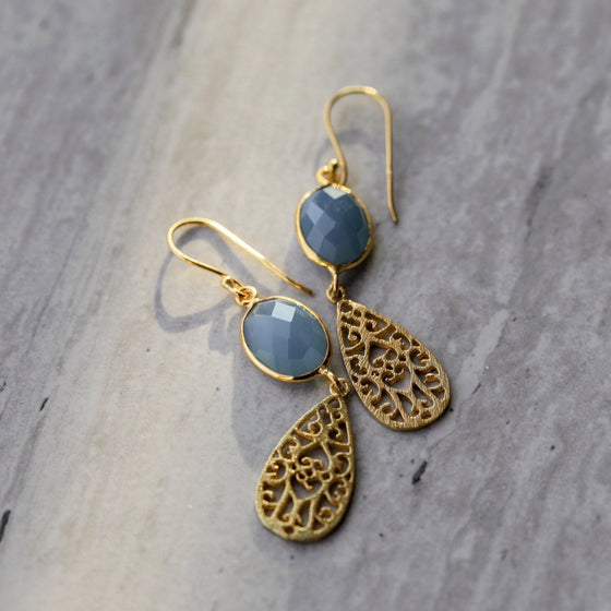 925 Sterling Silver 18k Gold Blue Chalcedony Women's Earrings-Nine Zen