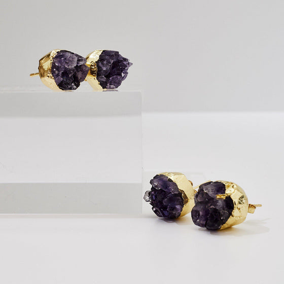 Amethyst Druzy Earrings-Nine Zen