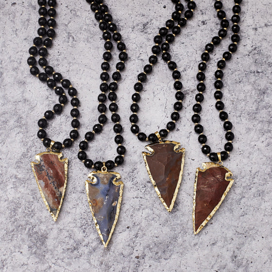 Boho Chunky Modern Long Bead Arrowhead Necklace-Nine Zen