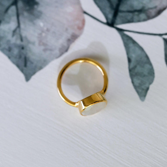 Chic Sterling Gold Plate Rainbow Moonstone Ring-Nine Zen