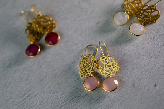 Drop Dead Gorgeous Sterling Gold Ruby Gemstone Dangle Earrings-Nine Zen