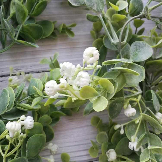 Faux Eucalyptus Garland with Flowers-Nine Zen