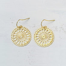 Gold Lace Dangle Earrings-Nine Zen