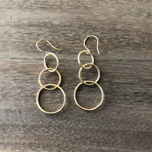 Gold Ring Dangle Earrings-Nine Zen