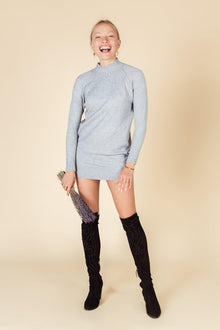 Gray Iris Stretchy Mini Sweater Dress-Nine Zen