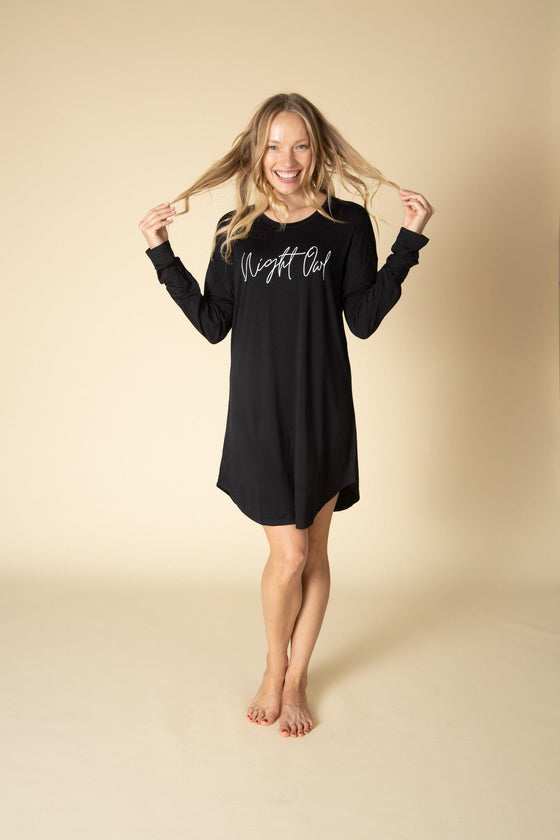 Night Owl Pajama Shirt Dress-Nine Zen