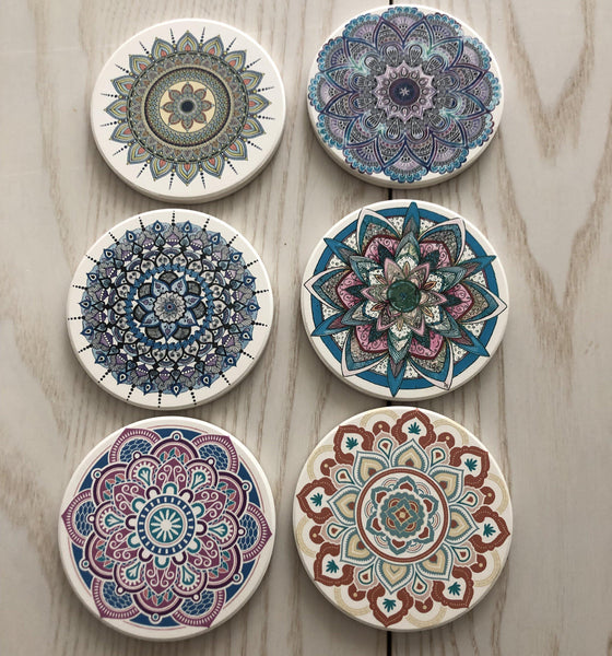 Mandala Ceramic Coasters-Nine Zen