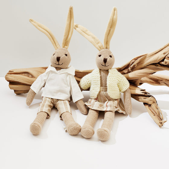 Organic Cotton & Linen Long Eared Plush Rabbit-Nine Zen