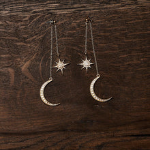 Pagan Goddess Moon & Stars Gold Jewelry Earrings-Nine Zen