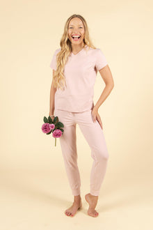 Posie Casual Cotton Lounge Set in Baby Pink-Nine Zen