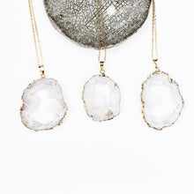 Pure Natural Quartz Crystal Geode Necklace-Nine Zen