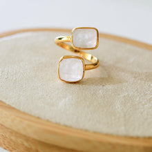 Rainbow Double Moonstone Ring-Nine Zen