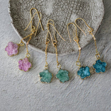 Raw Natural Stone Druzy Pendant Flower Charm Earrings-Nine Zen