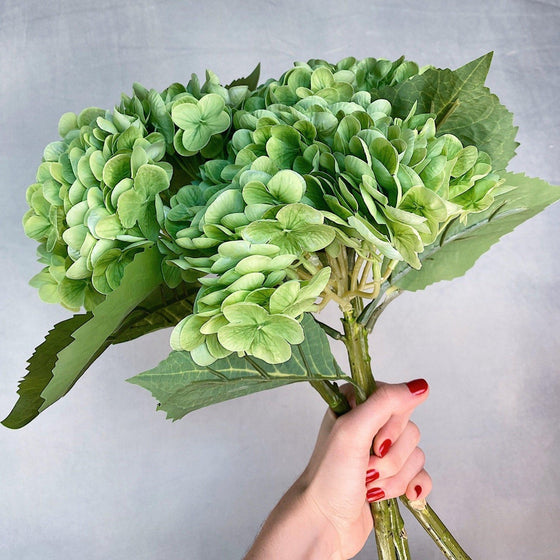 Real Touch High Quality Hydrangea - Green-Nine Zen