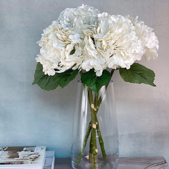 Real Touch High Quality Hydrangea - White-Nine Zen