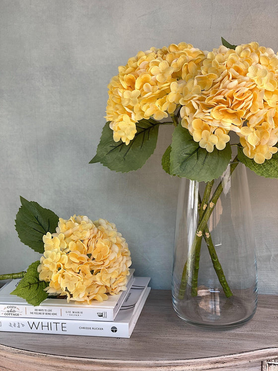 Real Touch High Quality Hydrangea - Yellow-Nine Zen