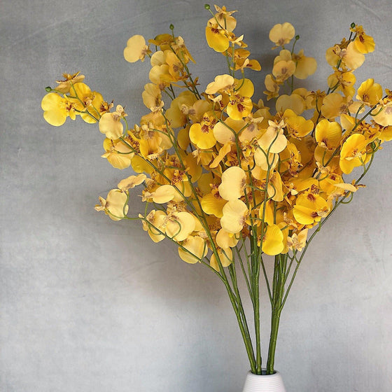 Real Touch Yellow Dancing Lady Orchid Stems- Set of 3-Nine Zen