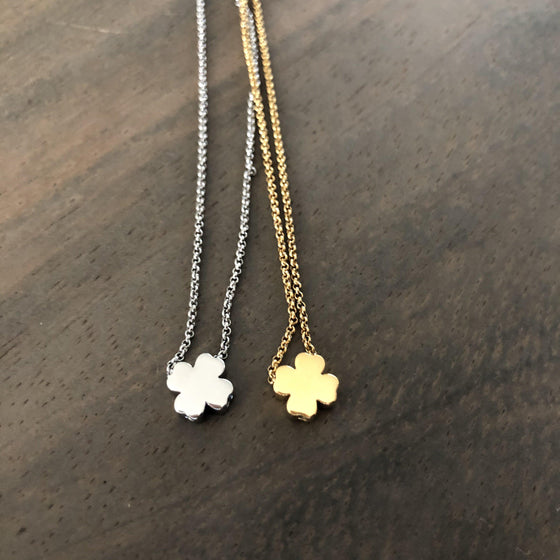 Simple Clover Necklace in Gold or Silver-Nine Zen