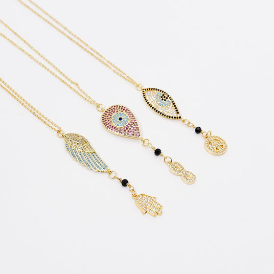 Sparkly Dangle Talisman Necklaces-Nine Zen