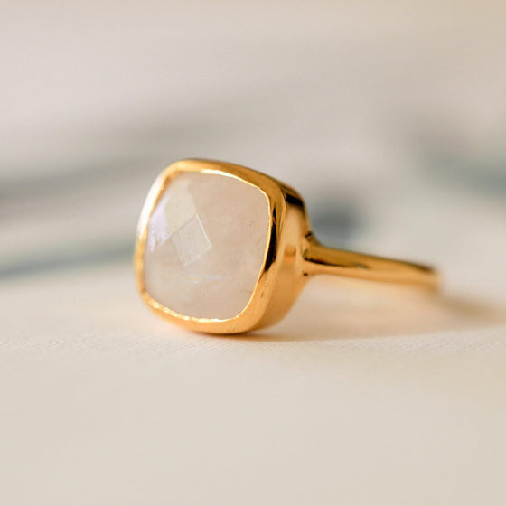 Square Cut Rainbow Moonstone Ring-Nine Zen