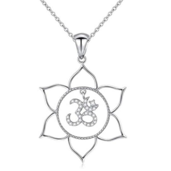 Sterling 925 Lace Om Necklace-Nine Zen