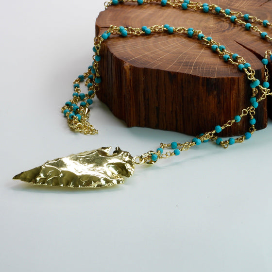 Turquoise Rosary Chain Arrowhead Necklace-Nine Zen