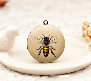 Antique Bee Charm Locket Necklace