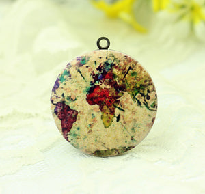 Antique Globe Map Charm Locket Necklace