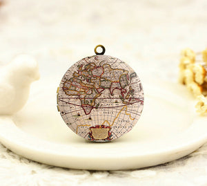 Antique World Map Charm Locket Necklace