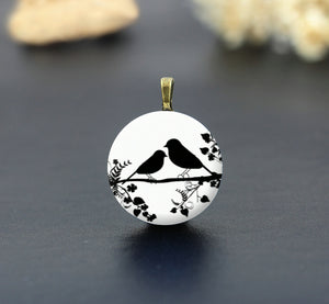 Birds on Branch Silhouette Ceramic Porcelain Charm Cabochons