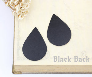 Black Back of the Leather Teardrop Charm Earring