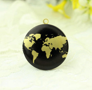 Black Globe Map Charm Locket Necklace