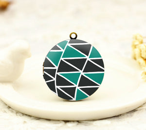 Black Green Triangle Charm Locket Necklace
