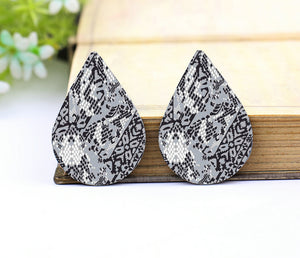 Black and White Leather Teardrop Earring Charm Supplies
