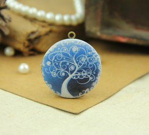 Blue Tree of Life Charm Locket Necklace