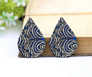 Blue Texture Print Leather Teardrop Earring Charm Supplies