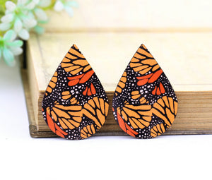 Butterfly Wing Leather Earring Teardrop Charm Supplies