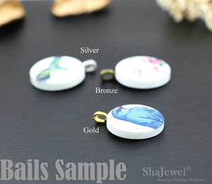 4pcs Cute Hummingbird Ceramic / Porcelain Charms Hummer Cabochons, 25mm With Silver, Bronze, Gold Bail - PB007C