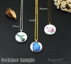 4pcs Birds on Branch Silhouette Ceramic Porcelain Charms Birds Cabochons, 25mm With Silver, Bronze, Gold Bail - PB011C