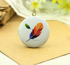 Colored Feather Charm Locket Necklace
