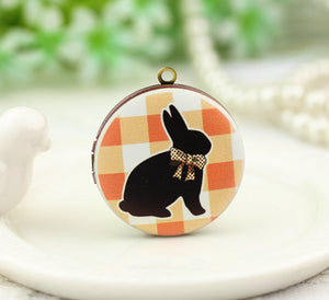 Cute Bow Black Rabbit Charm Locket Necklace