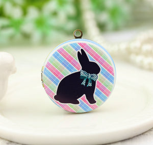 Cute Bow Rabbit Charm Locket Necklace